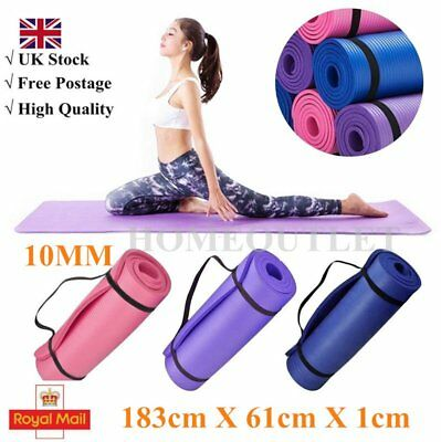 YOGA MAT EXERCISE FITNESS AEROBIC GYM PILATES CAMPING NON SLIP 10mm THICK New