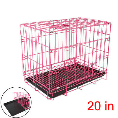 """20"""" 50cm Small Dog Cage Pet Puppy Crate Folding Metal Training Travel Carrier AY"""