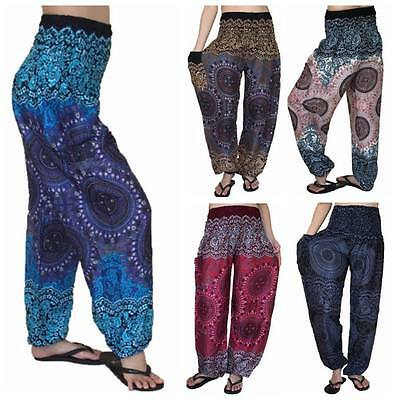 Ladies Baggy Rose Pants, Baggy One Size Rose Hippie Pants, Yoga, Maternity, PLUS