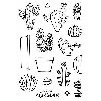Jane's Doodles Cactus Clear Stamp, Craft, Scrapbooking, Cards, Stamping, New