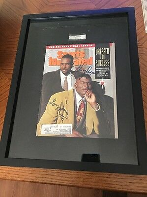 11/1990 UNLV's Larry Johnson/Stacey Augmon autographed SI NCAA cover Mancave