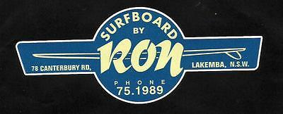 """SURFBOARDS BY RON "" VINTAGE / RETRO Sticker Decal 1960s LONGBOARD SURFER SURF"