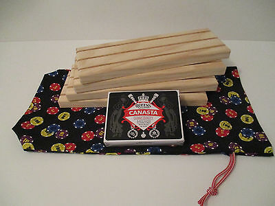 Wooden Playing Card Holders - 3 Row - Set of 4 with Canasta Pack & Storage Bag