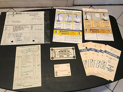 Vintage Mr. Peanut Planters Sales Documents -slips, 1950's Invoice, coupons Rare