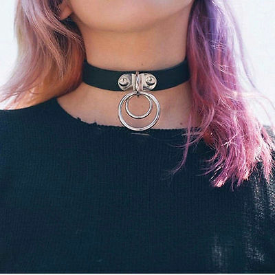 GOTHIC BDSM KINKY DOUBLE RING CHOKER NECKLACE COLLAR 50 SHADES OF GREY Necklace