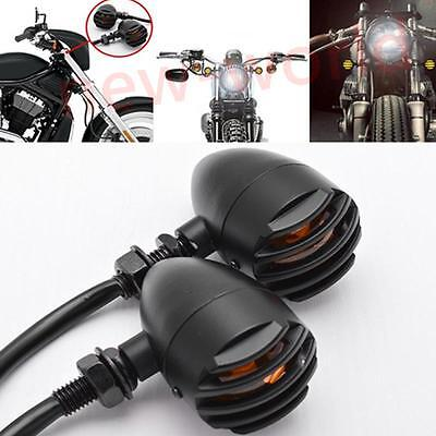 Black Mini 12V Motorcycle Turn Signal Bullet Blinker Indicator Light Amber Lamp