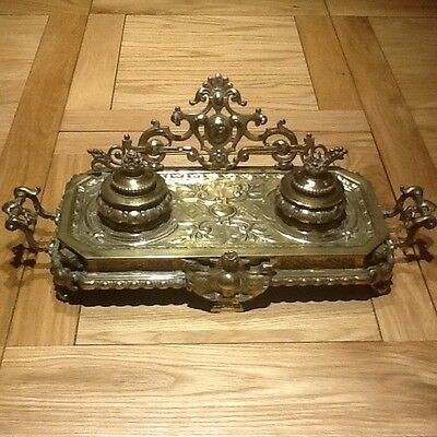 Large Vintage Brass Inkwell