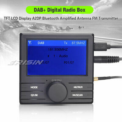 FM Transmitter DAB+ Box TFT LCD Display A2DP Bluetooth Amplified Antenna 363-UK