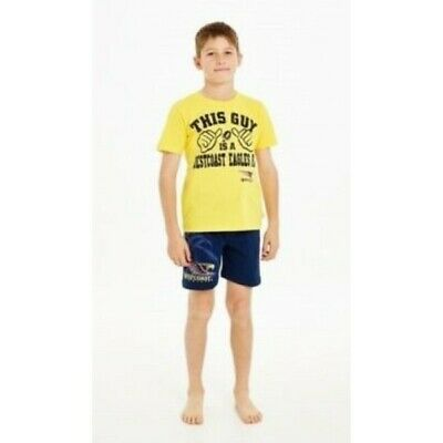 West Coast Eagles Official AFL Summer Youth Pyjamas Satin Boxers TShirt