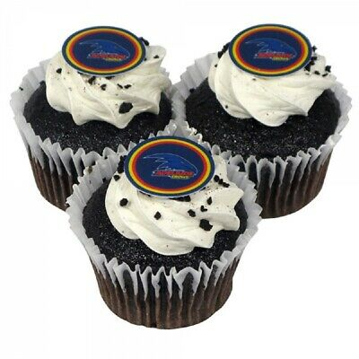 Adelaide Crows Edible Icing Cupcake Topper Pkt 12  AFL Official Birthday Party