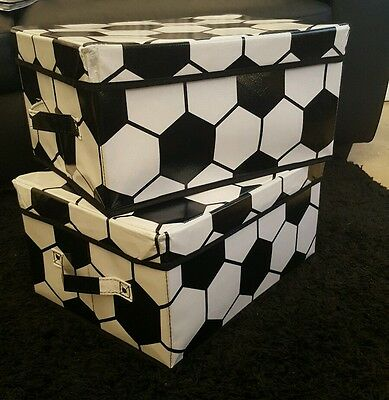 2 X FOOTBALL STORAGE TIDY TOY BOXES.IN A FOOTBALL PRINT GR8 kids/boys..XMAS GIFT