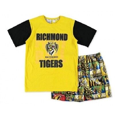Richmond Tigers Official AFL Youth Summer Pyjamas Satin Boxers TShirt 2016