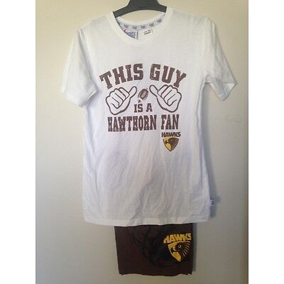 Hawthorn Hawks Official AFL Summer Youth Pyjamas Cotton Boxers TShirt 14