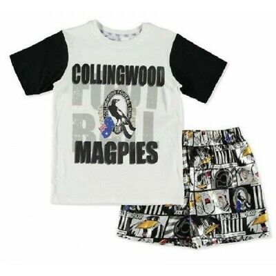 Collingwood Magpies Official AFL Youth Summer Pyjamas Satin Boxers TShirt