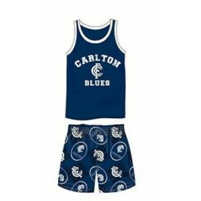 Carlton Blues Summer Pyjamas Boxers Singlet Official AFL Satin Youth BNWT