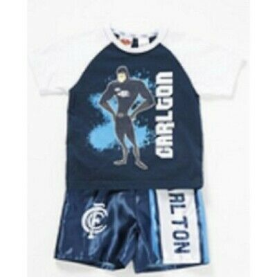 Carlton Blues Official AFL Summer Pyjamas Satin Boxers Tshirt