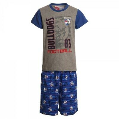 Western Bulldogs Official AFL Summer Youth Pyjamas Cotton Boxers TShirt