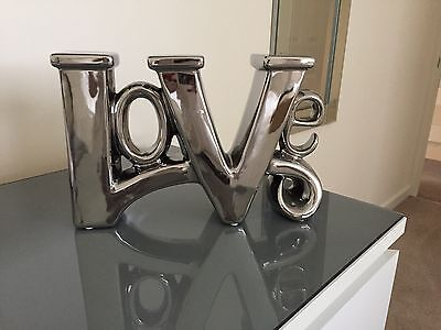 Large Chrome 'LOVE' Word Ornament