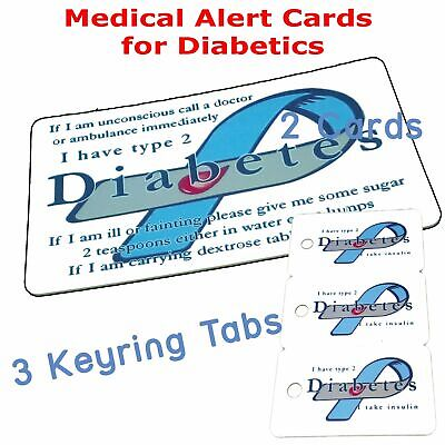 Diabetic Alert Card | Type 2 | Custom with Name and Address | Emergency Contact.