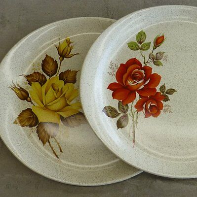 2 x Vintage Wood and Sons England Oval Serving Plates April Rose and Avalon Rose