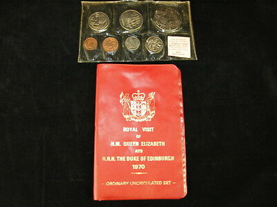 New Zealand 1970 Royal Visit 7 Coin Uncirculated Mint Set in Red Folder