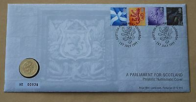 Scotland Pictorials A Parliament For Scotland 1999 Royal Mint Fdc +  £1 Coin
