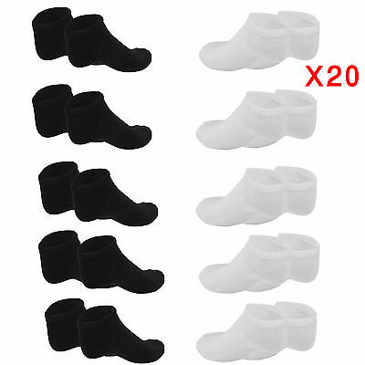 Trainer Liner Ankle Socks Mens Womens Cotton Rich Sport Black White 20 Pairs