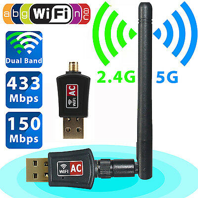 600 Mbps Dual Band 2.4/5Ghz Wireless USB WiFi Network Adapter 802.11AC w/Antenna