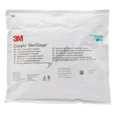 """3M 1243A Comply SteriGage Chemical Integrators 2"""" x 2 3/4"""" - Pack of 500"""