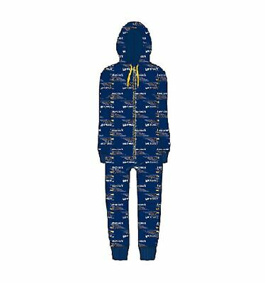 West Coast Eagles Childrens Microfleece Hooded Pyjama Jumpsuit AFL Official