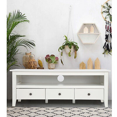 Modern TV Unit TV Cabinet 3 drawers 1 Storages White Entertainment Center Stand