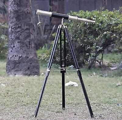 Brass Nautical Leather Telescope - Decor & Working With Chrome Trpod Flrk2 Stand