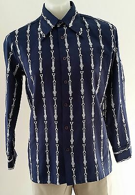 Vintage 1970s BLUE WHITE Belt Buckle Print Polyester Body Shirt size S 100cm