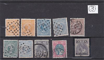 Netherlands Stamps Young Queen Wilh. 1891 -1899 Numbered post-marks and normal.