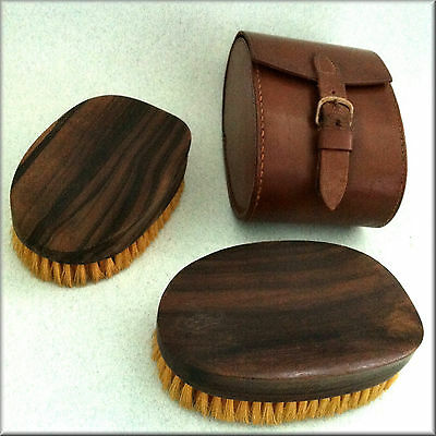 A Pair of Vintage Gents Hair Brushes in Leather Case all in Very Good Condition.