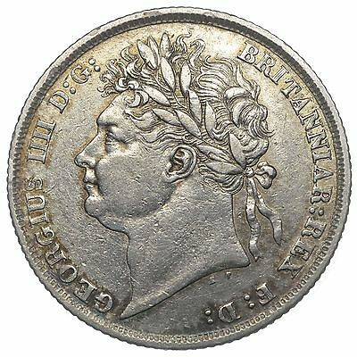 1824 Shilling - George Iv British Silver Coin - Nice