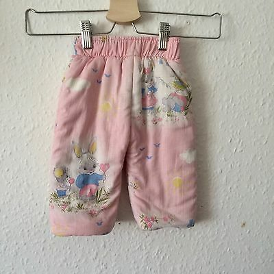 Vintage Baby Girl Pink Cute Kitsch Bunny Quilted Padded Snow Ski Trousers 6 M