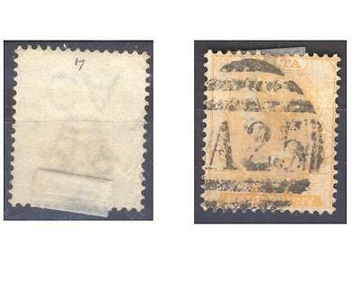 Malta Victoria AC one half  1/2 penny A25 cancelled ,(tear upper right).SEE SCAN