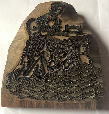 Large Vintage Wooden Printing Block Of A Sewing Machine Operator
