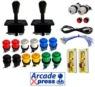 Kit Joystick Arcade x2 American Negros 12 botones 2player Retropie Usb 2 players