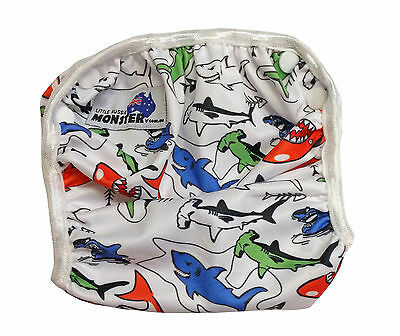 Reuseable swim nappy washable swimmer adjustable baby toddler colourful sharks
