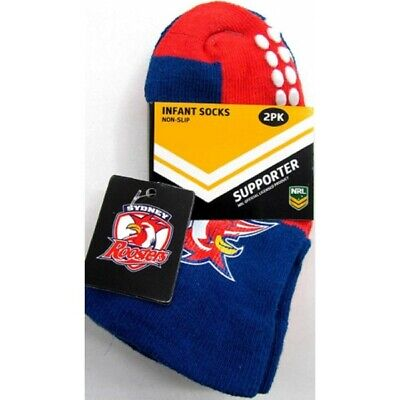 Sydney Roosters Official NRL Baby Infant Non-Slip Socks 2 pack