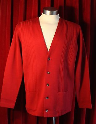 LARGE RED ACRYLIC MENS CARDIGAN. 1970's VONNEL MADE FOR TARGET. DRY CLEANED.
