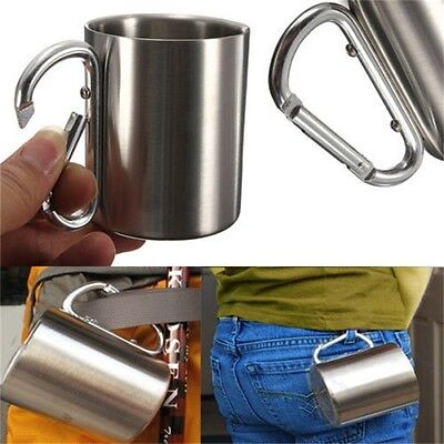 S@220ml Stainless Steel Mug Outdoor Camp Camping Cup Carabiner Hook Double Wall~