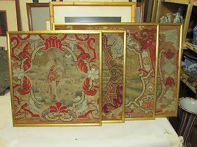 Antique European Needlework Tapestry Panel 4 piece lot