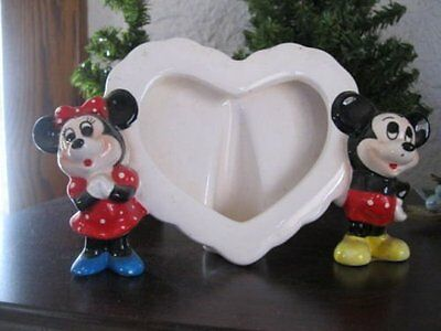 """Disney Ceramic Heart Mickey and Minnie Mouse Photo Frame Approx 4"""""""