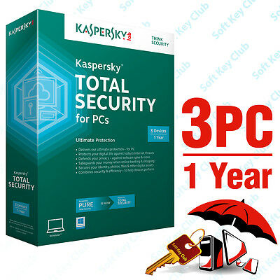 Kaspersky Total Security 3 Pc / 1 Year   Pure   Download   No Cd