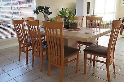 9 Piece Travertine Dining Table & Chairs