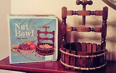 Vintage Retro - Wooden Wishing Well Nut Bowl and Cracker - New in Original Box