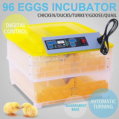 2017 AUTOMATIC EGG INCUBATOR 96 EGGS POULTRY HARCHER CHICKEN INCUBATOR Free P&P